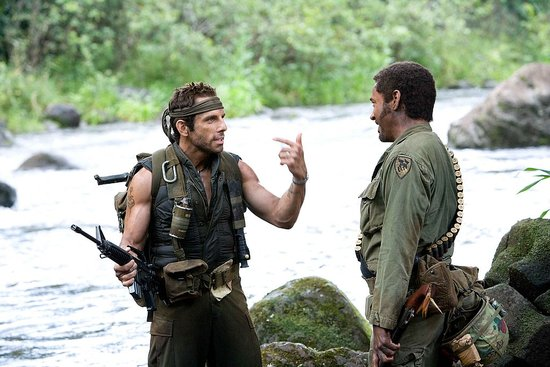 Tropic Thunder, with Ben Stiller and Robert Downey Jr